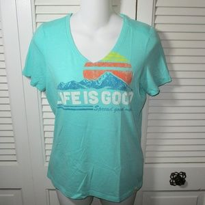 """Life Is Good """"Spread Good Vibes""""Teal V-neck Tee XS"""